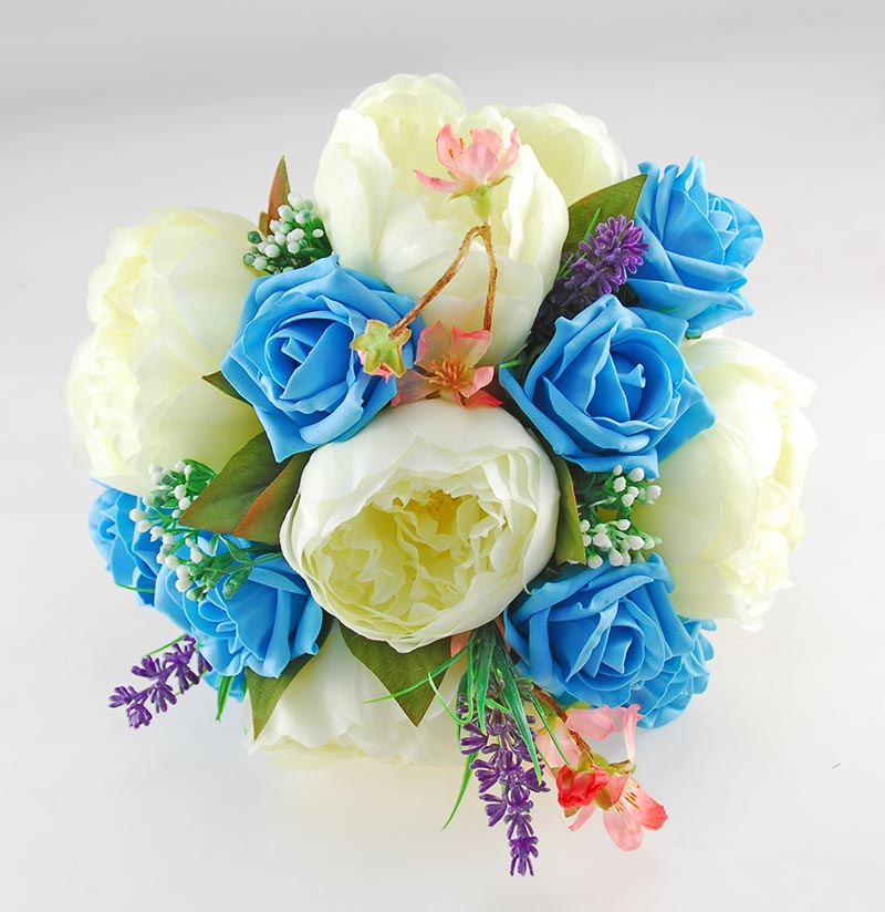 Zara Ivory Peony, Cherry Blossom & Turquoise Rose Wedding Flower Package