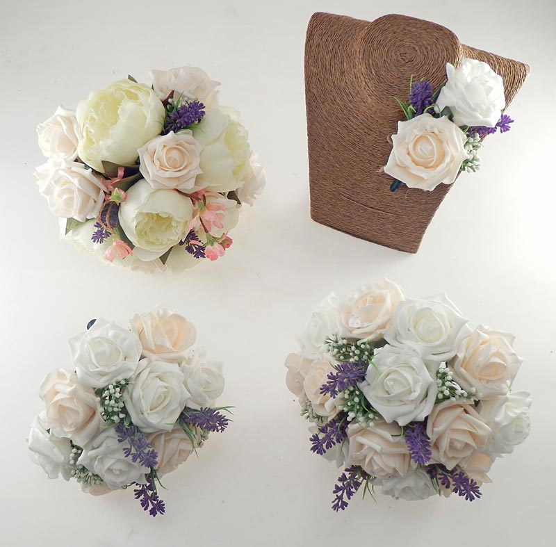 Zara Silk Peony, Cherry Blossom & Cream Rose Wedding Flower Package