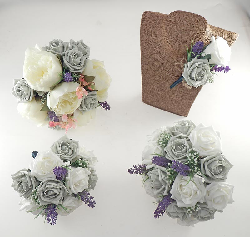 Zara Silk Peony, Cherry Blossom & Grey Rose Wedding Flower Package