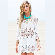 Beach Crochet Tunic with Flower Embroidery Lace - 3/4 Sleeve