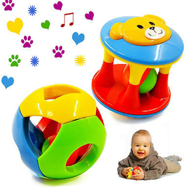 2pcs Baby Newborn Little Loud Jingle Rattle Grasp Toy