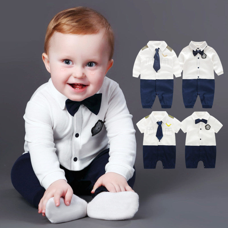 Cute Baby Boy Rompers 100% Cotton Tie Gentleman Suit