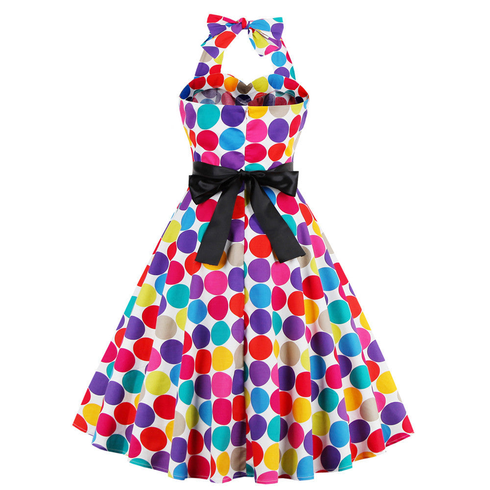 1950s Polka Dot Backless Halter Swing Dress | Available in plus sizes