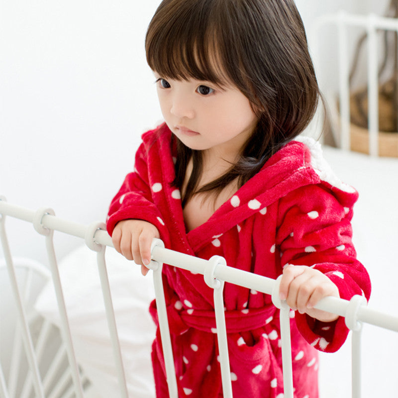 Red White-Polka Dot Bathrobe