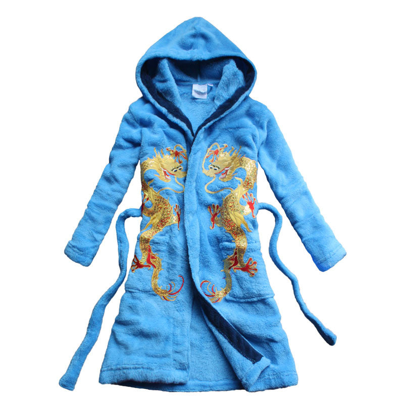 Warrior Child Dragon Embroidered Bathrobe