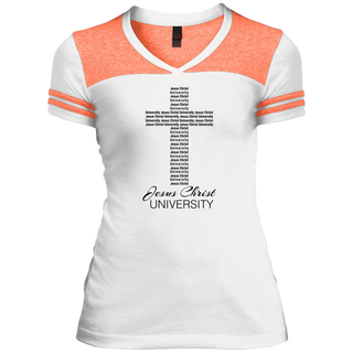 Cross Logo Juniors Varsity V-Neck Tee