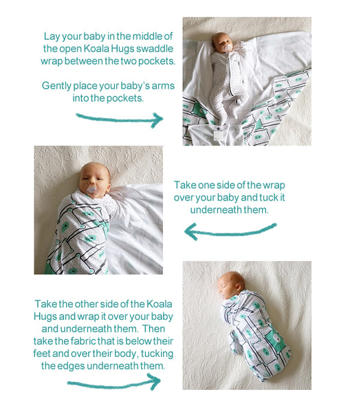 How to swaddle wrap a newborn baby using the Koala Hugs swaddle blanket wrap