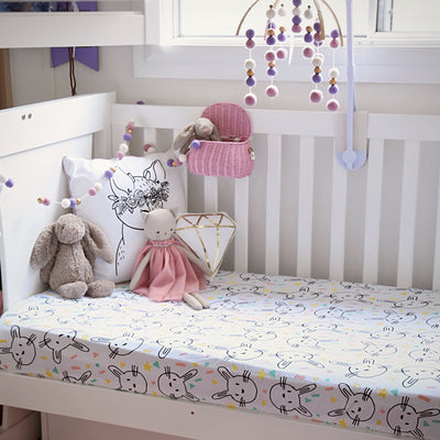 Cotton jersey fitted crib sheets made using 100% GOTS organic cotton, super soft, lightweight, breathable, crease free