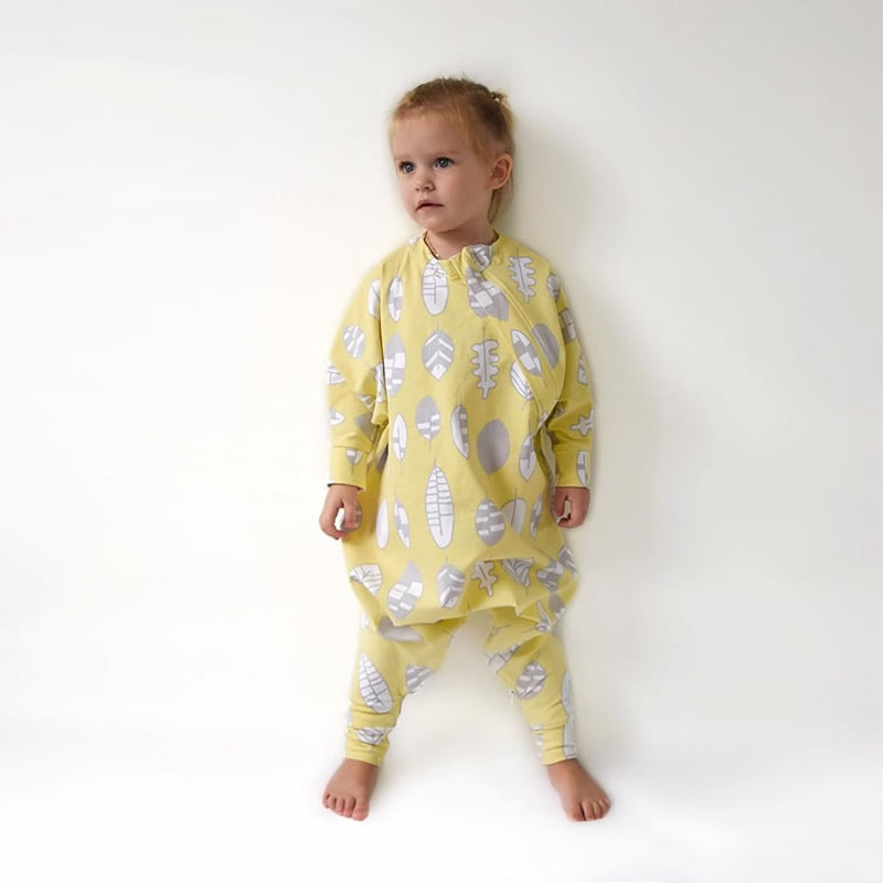 Cozy Toddler sleepsuit, the ultimate toddler pyjamas, has full inner leg zipper for easy diaper changes, no need to take off the entire suit.