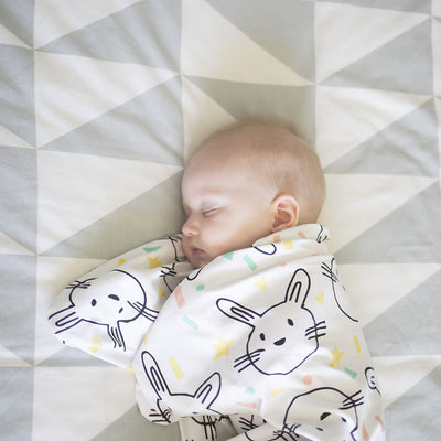 The Sleepy Hugs sleep sack for gentle swaddle transitioning, has a two way zipper top and bottom opening for easy diaper changes, the wide sack design is hip-friendly and fits a hip-dysplasia brace, helps startle reflex, perfect for tummy rollers.