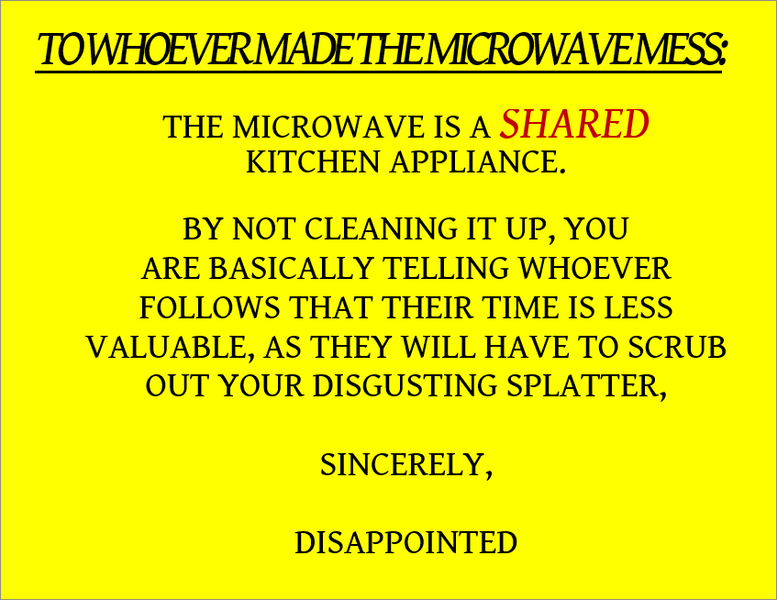 Full Sheet Label of Pam's Microwave Note
