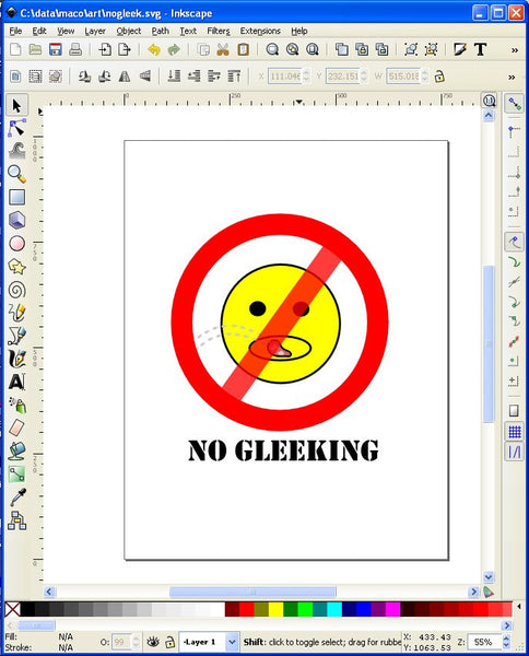 Full Sheet Label No Gleeking Sign