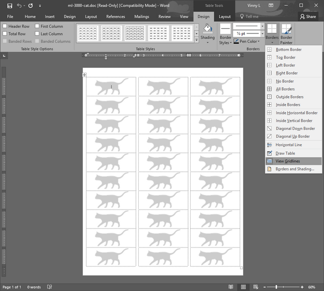 Viewing Microsoft Word Cell Grid lines -Seeing the Label Update