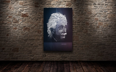 Einstein Typography Metal Panel, Limited to 10