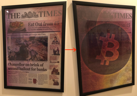 Transitional Lenticular Bitcoin 'The Times' Chancellor On Brink / BItcoin Quantum Leap, Limited to 21