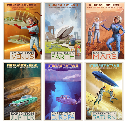 Interplanetary Travel Set of 6, Space Poster Art