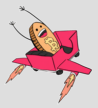 Load image into Gallery viewer, bitcoin-rollercoaster-rocketship-guy-sticker-4x4-gloss