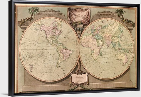 "A New Map of The World Vintage Map, Canvas with Floating Frame, 48""x32"""