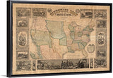 "Vintage Pictorial Map of the United States Canvas with Floating Frame, 48""x32"""