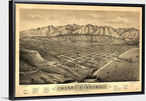 "Bird's Eye View of Santa Barbara Vintage Map Canvas with Floating Frame, 48""x32"""