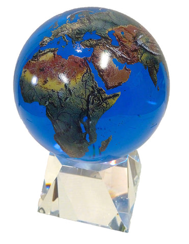 Amazing Crystal Globe - Aqua Crystal Sphere With Natural Earth Continents With Crystal Base, 6 Inch Diameter