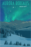 SKU: AURORA Aurora Borealis Norther Lights Minimalist Wonders Poster