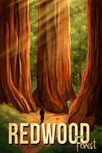 Load image into Gallery viewer, SKU: REDWOOD Hike Redwood National Park Travel Poster