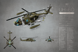 SKU: UH60  UH-60 Helicopter Exploded View Poster