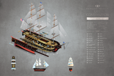 SKU: CONSTITUTION  USS Constitution Ship Exploded View Poster