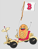 Bitcoin Rollercoaster Guy on Moon Rover 4x3 Gloss Sticker