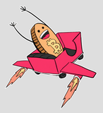 Bitcoin Rollercoaster Rocketship Guy Sticker 4x4 Gloss