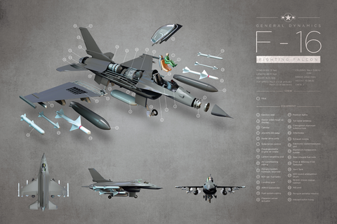 F-16 Fighter Jet Exploded View Art