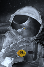 Load image into Gallery viewer, Bitcoin Astronaut Metallic Print, Limited to 10