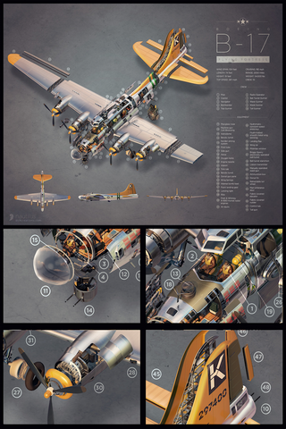 B-17 Exploded View Portrait Format Poster Print