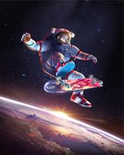 "Load image into Gallery viewer, Bitcoin Kickflip Astronaut, Metal Panel, 16""x20"" Smaller Size, Limited to 21"