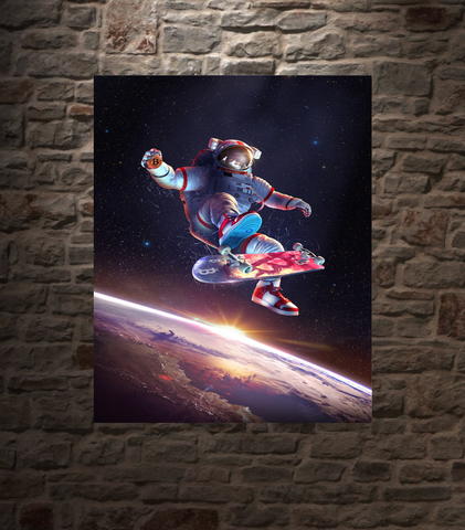 "Bitcoin Kickflip Astronaut, Metal Panel, 16""x20"" Smaller Size, Limited to 21"