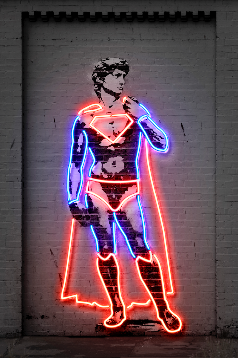 David Statue Superhero Neon Art