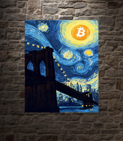 "Bitcoin Starry Night, METAL PANEL, 16""X20"" SMALLER SIZE, LIMITED TO 21"