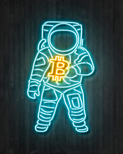 "Load image into Gallery viewer, Bitcoin Neon Astronaut METAL PANEL, 16""X20"" SMALLER SIZE, LIMITED TO 10"