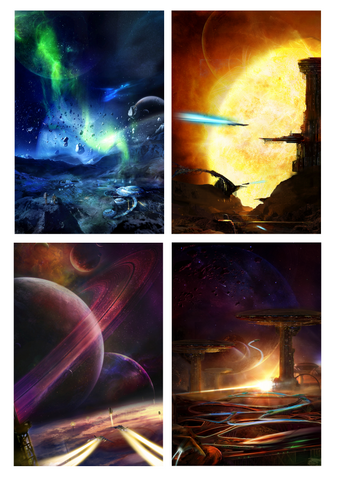 Distant Future Space Series, Set of 4