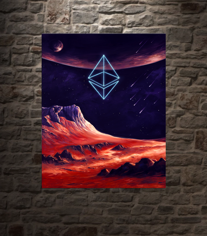 "Ethereum Cosmic Conception METAL PANEL, 16""X20"" SMALLER SIZE, LIMITED TO 21"
