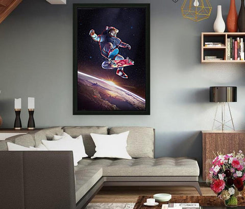 "LAST ONE!!  Bitcoin Kickflip Framed Canvas, Oversized, 48""x32"" inch, Limited to 5"