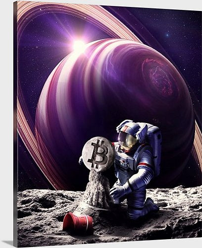 Bitcoin Astronaut Sandcastle Mounted Canvas, 20