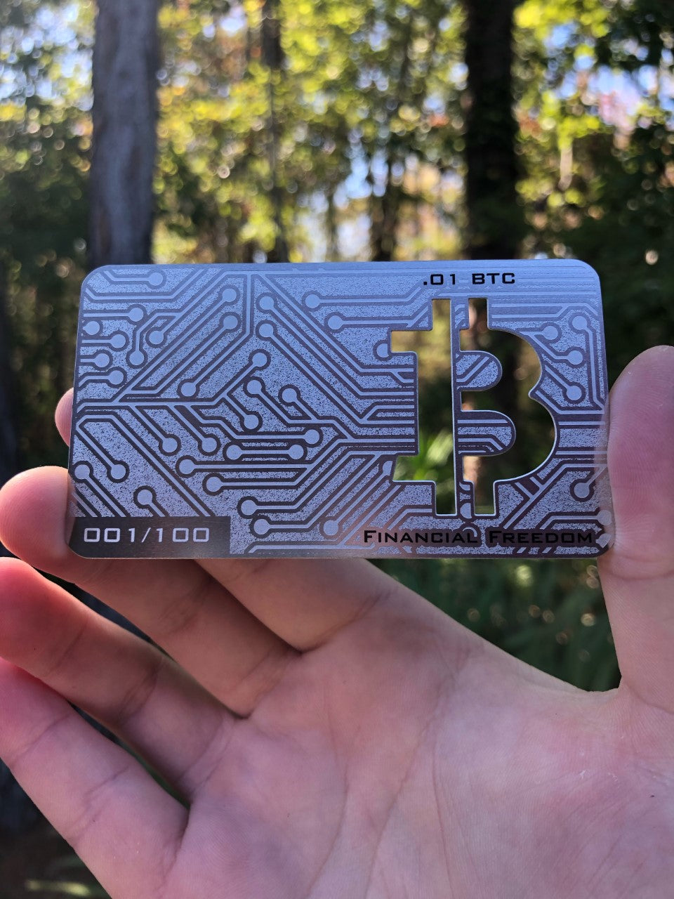 SOLD OUT!  Bitcoin .01 BTC Sandblasted Silver Metal Wallet, Limited to 100