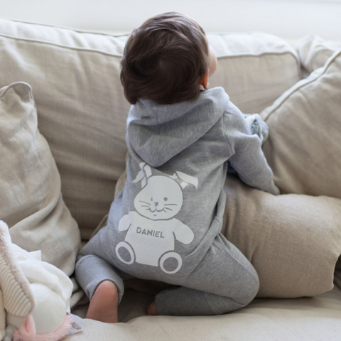 Our Personalised Baby Hooded Onesie is a grey romper suit