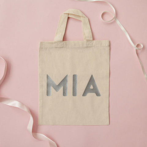 Personalised bag for your Personalised Stripy Bodysuit in Pink and White