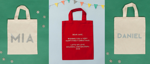 Personalise bags from Percy and Nell for your Personalised Long Sleeved Single Star Top in Navy and White