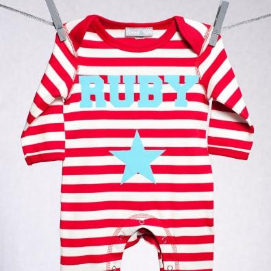 Personalised Single Star Romper Red and White