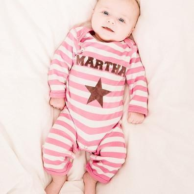 Personalised Single Star on Pink and White Striped Romper Suit