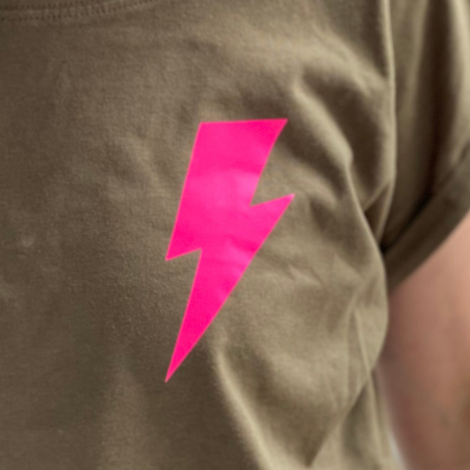 Khaki T-shirt with Small Neon Lightning Bolt - Pink